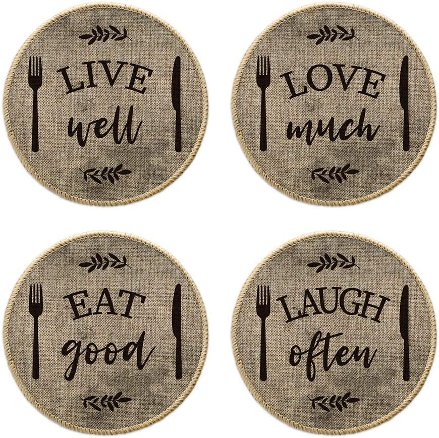 Artoid Mode Fork and Knife Kitchen Trivet Mats for Dining Table, Seasonal 8 Inch Eat Good Laugh Often Live Well Love Much Holiday Party Heat Resistant Pot Holders Hot Pads Set of 4