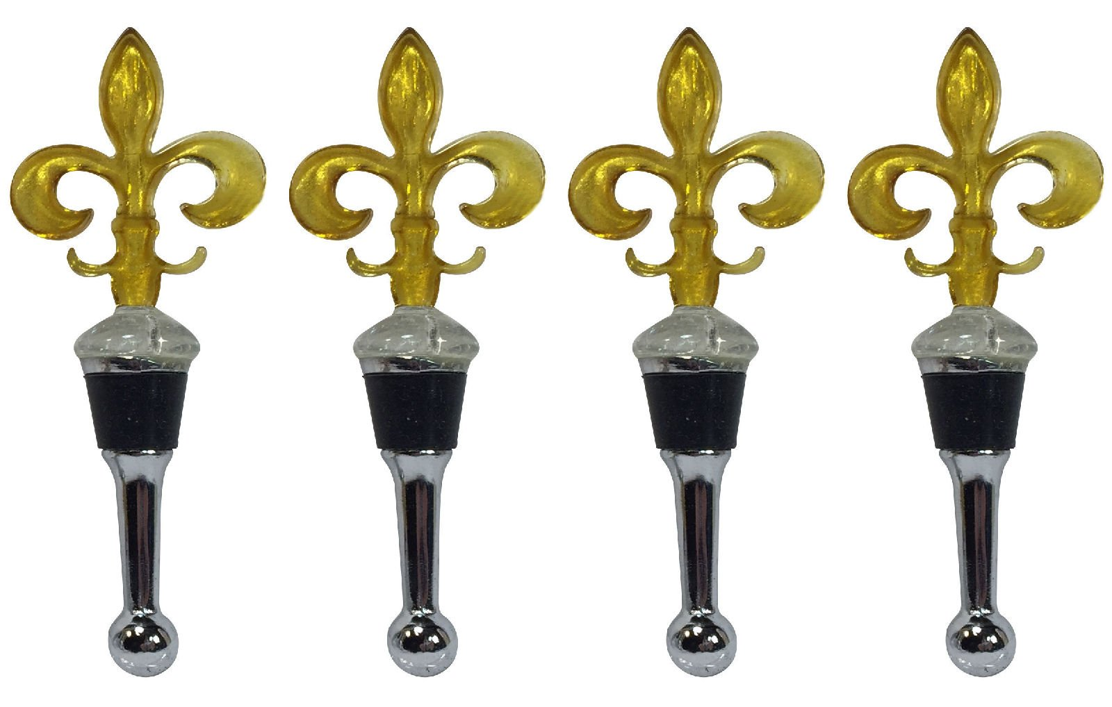 Manual Gold Glass Fleur de Lis Wine Bottle Stoppers - Set of 4