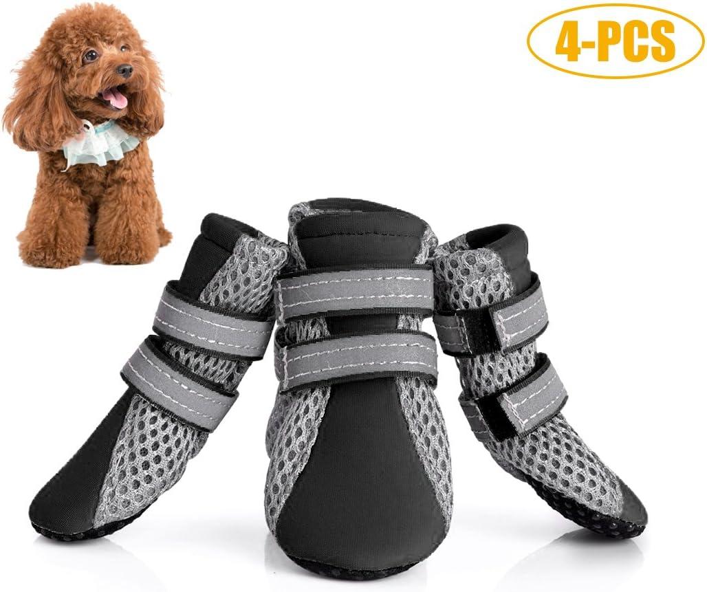 Legendog Zapatos De Perro, 4PCS Bota De Perro Respirable Antideslizante para Mascotas Zapatos De Verano para Perro con Reflectante S