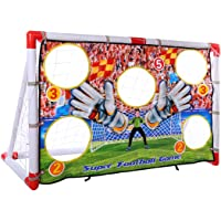 FenglinTech Soccer Goal, Portable Folding Kids Sports Football Door Set Football Gate with Board, Soccer Ball and Pump Practice Scrimmage Game