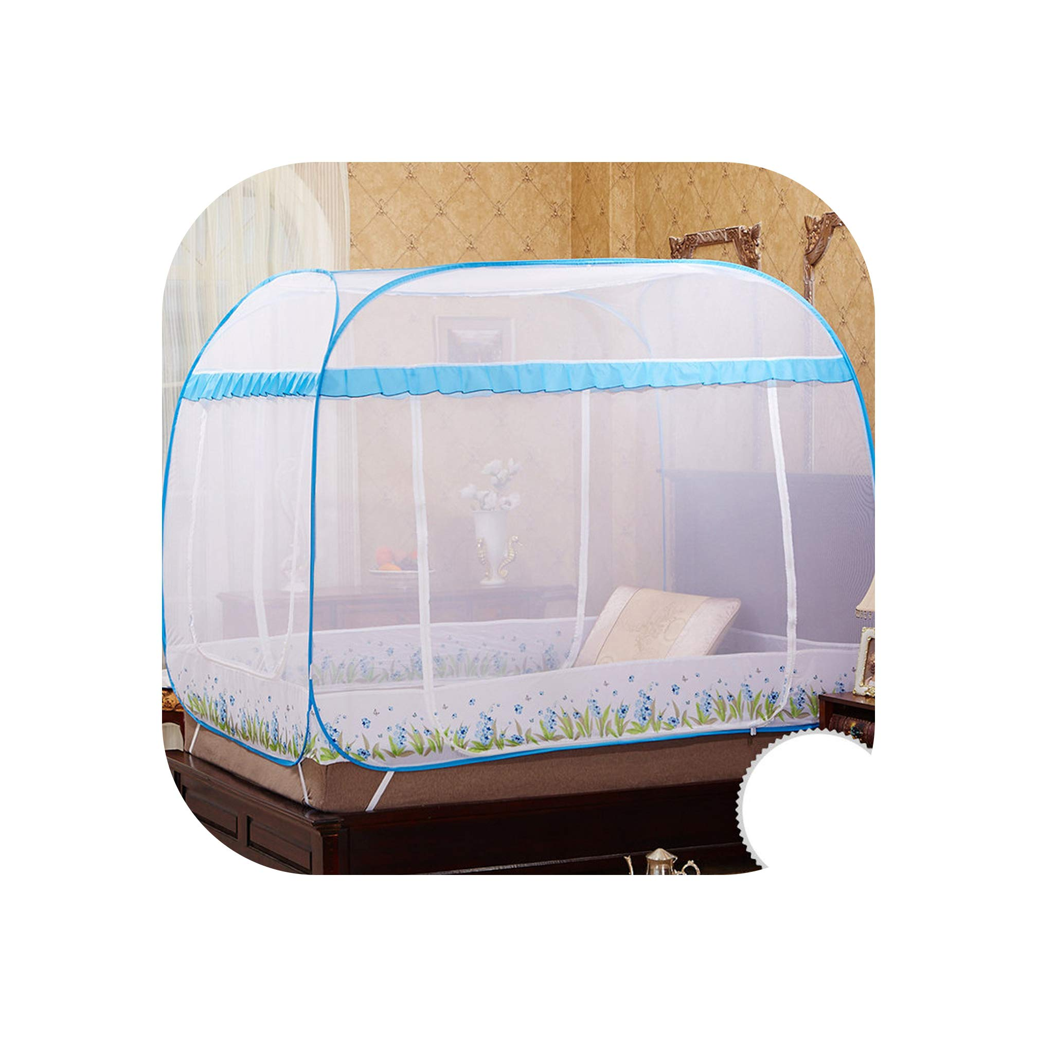 Folding Portable Mosquito Nets Quadrate Mosquito Net for Double Bed Mosquito Net Lace Blue and Purple Bed Canopies hu die LAN LAN 1.8m (6 feet) Bed