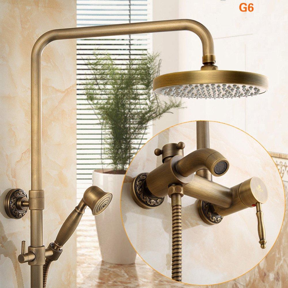 6 All-Copper Antique Shower European Retro Lifting Shower Large Nozzle Bathroom Faucet Set, 7