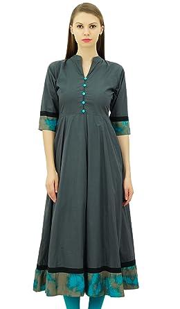 04c6a81ec58 Amazon.com: Bimba Cotton Anarkali Kurti Designer Ethnic Flared Kurta Dress  Women Indian Tunic: Clothing