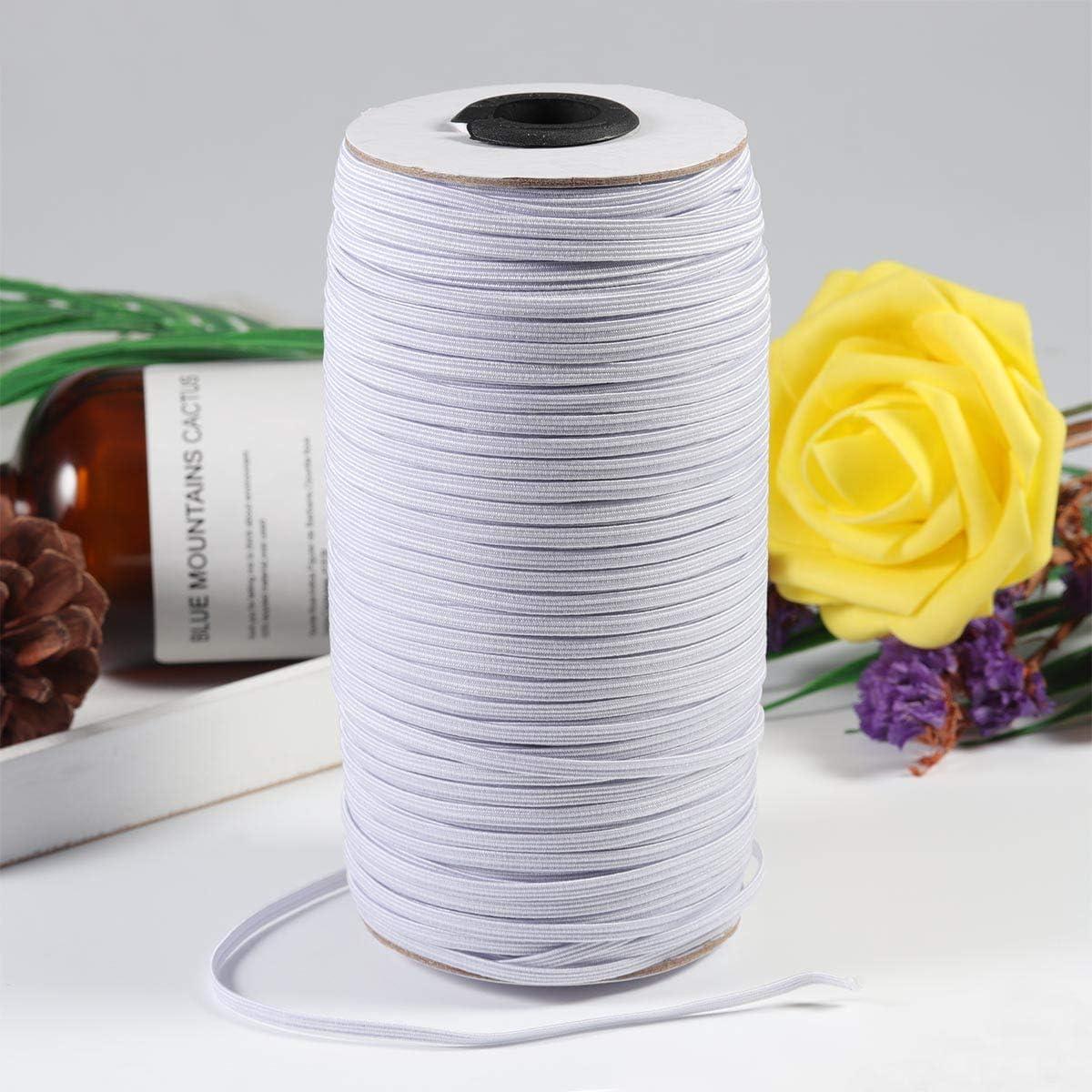 1//4 Chuyau 200-Yards White Braided Elastic Cord Elastic Bands for Sewing/Knit Heavy Stretch Elastic