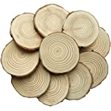 "Amaonm Pack of 10 3.5""-4"" Unfinished Natural Blank Wood Slices Circles with Tree Bark Log Discs for DIY Craft Woodburning Christmas Rustic Wedding Ornaments Cup mats, shooting props, Painting rings"