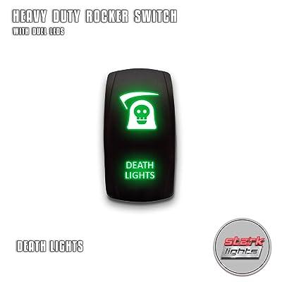 DEATH LIGHTS - Green - STARK 5-PIN Laser Etched LED Rocker Switch Dual Light - 20A 12V ON/OFF: Automotive