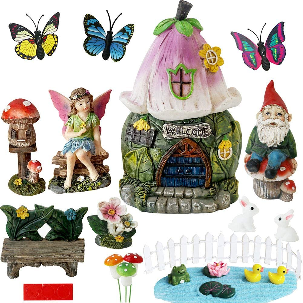 BangBangDa Garden Fairy Garden Decor-Accessories - Miniature Flower Gnome Garden Kit Gnome Figurines Statue Set for Outdoor Fairy Garden Decoration Gardening Gifts for Girl Boy