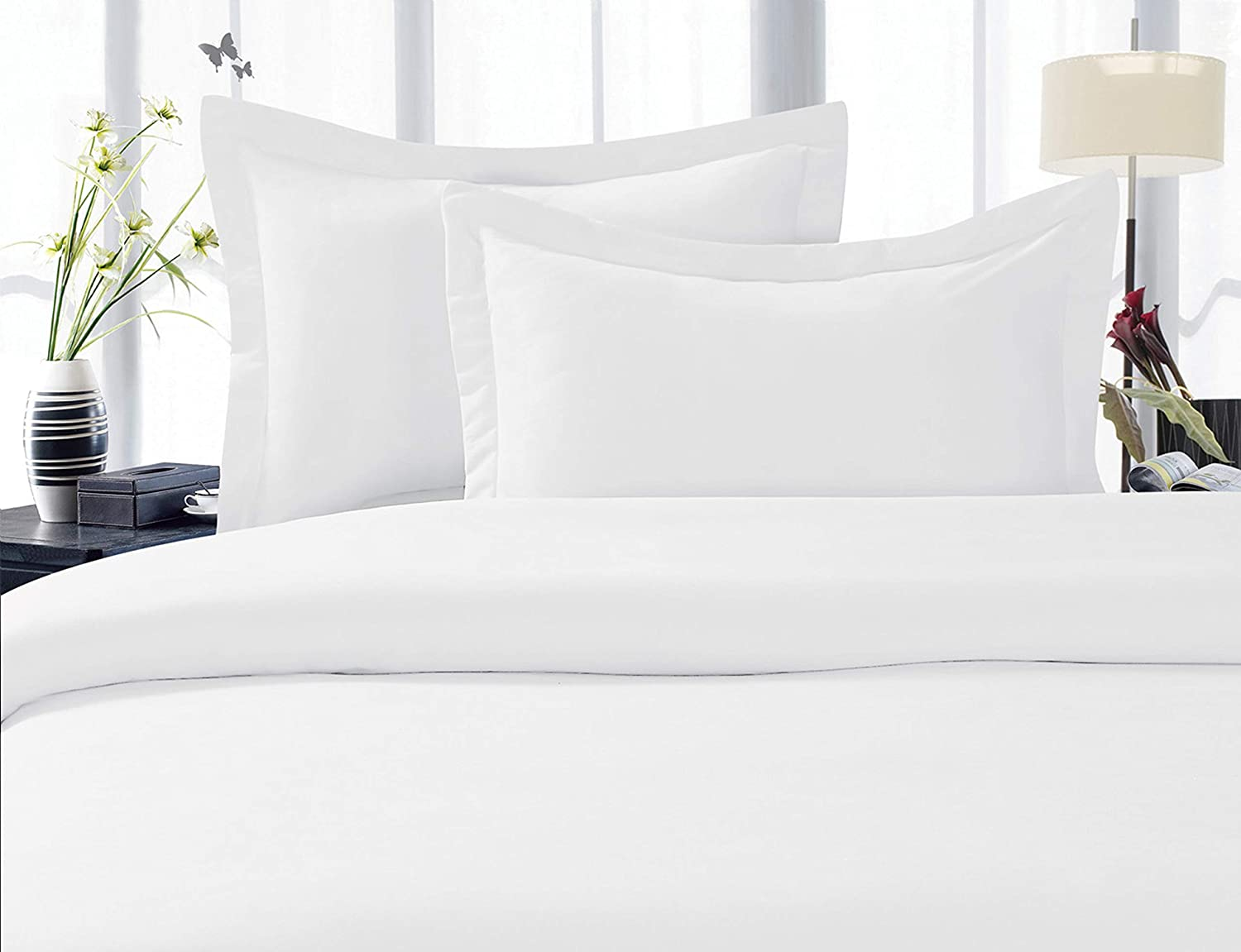 White King Size Luxury Ultra-Soft Premium Hotel Quality 2-Piece Pillow Shams Microfiber Double Brushed-100/% Hypoallergenic-Wrinkle Resistant