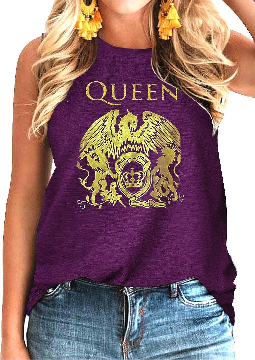 Women Vintage Rock Band Shirt Summer Graphic Tees Freddie Cute Mercury Rock Band Tees Tank Top for Music Lovers