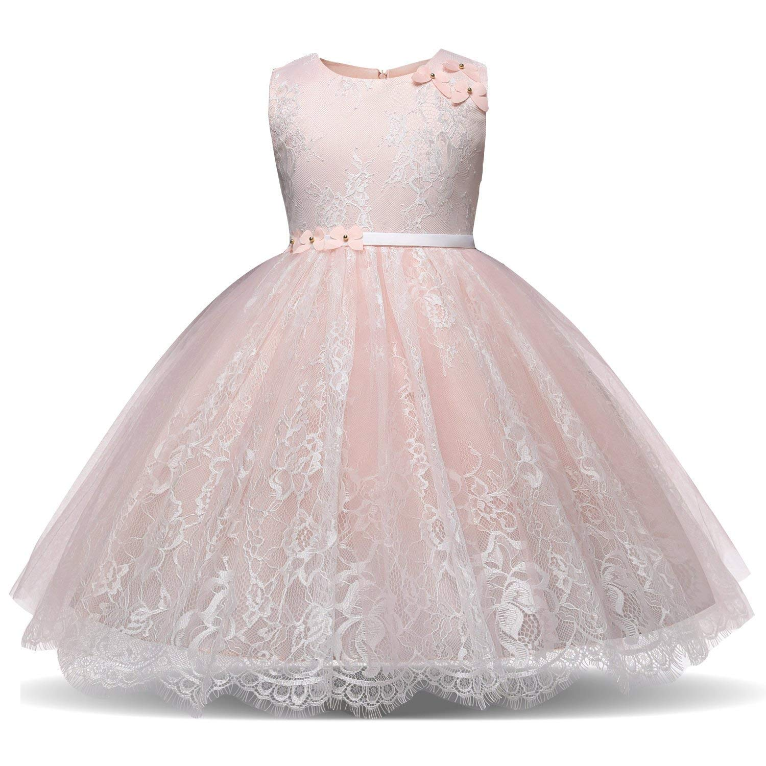 TTYAOVO Lace Chiffon Embroidered Flower Girls Wedding Bridesmaid Pageant Dresses Size 3-4 Years Pink