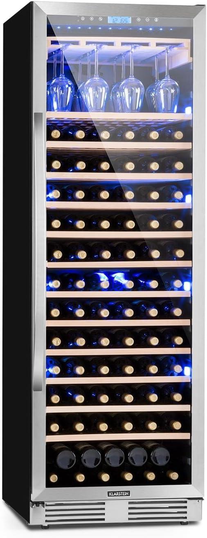 Klarstein Vinovilla Grande - Cave à vin XXL, Capacité 425L, 165 bouteilles, Classe A, Ecran LCD, 5-20°C, porte vitrée/cadre inox