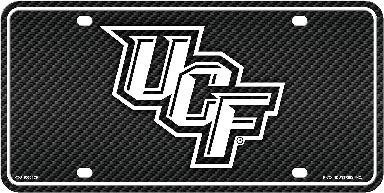 Inc Rico Industries UCF Central Florida Knights Metal Tag License Plate Carbon Fiber Design Premium Aluminum Novelty University of