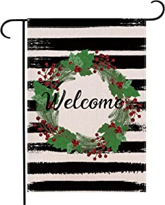 Baikey Christmas Welcome Garden Flag, Winter Outdoor Flag Holiday Wreath Vertical Double Sized, Christmas Sign for Farmhouse Home Yard Outdoor Decoration 12.5 x 18 Inch