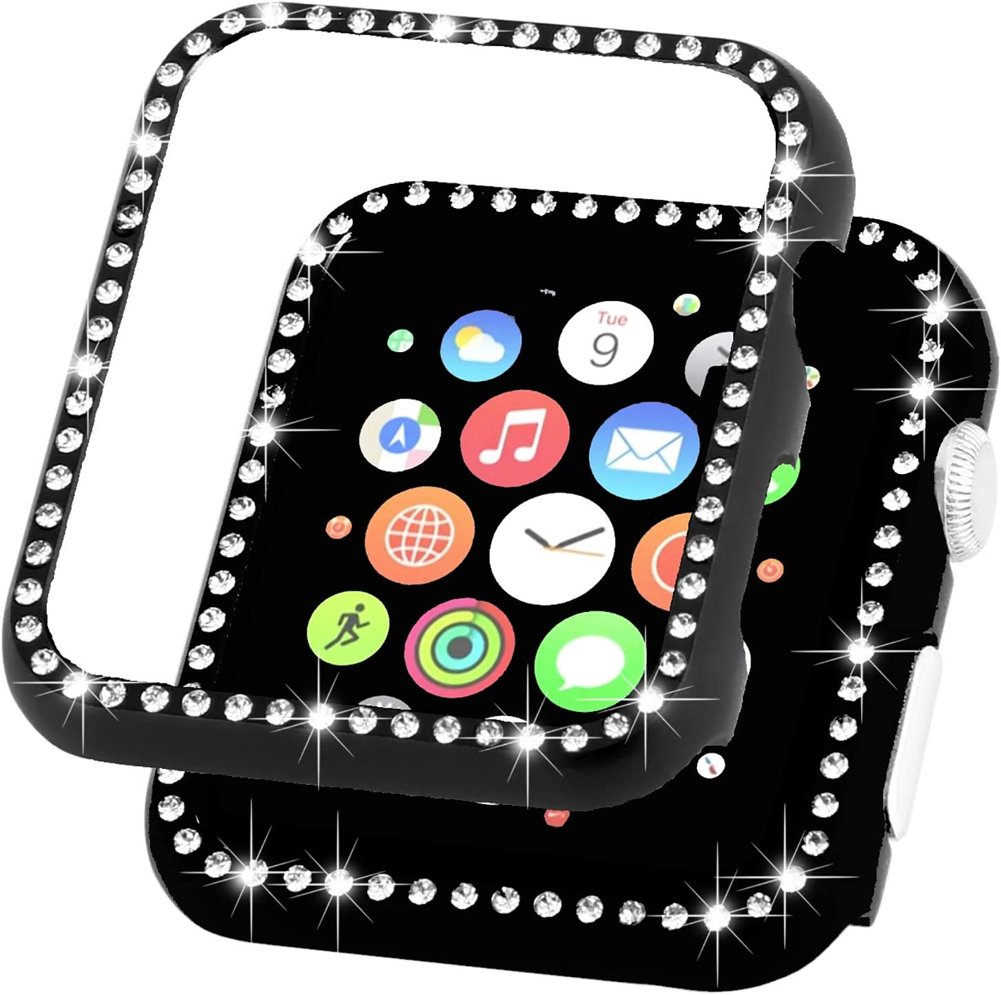 Ayigo Compatible with Apple Watch Case 38mm 42mm, Metal Bumper Protective Cover Women Diamond Crystal Rhinestone Shiny Compatible iWatch Series 3/2/1 (Black, 44mm)