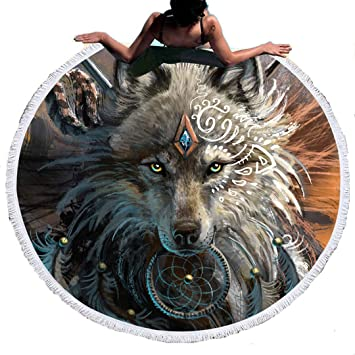 Stillshine Toalla de Playa Redonda Estilo Hippie, de Microfibra,Diseño Indio Bohemio,Ideal como Colcha,Tapiz Decorativo de Mandala,150 cm, Súper Absorbente ...
