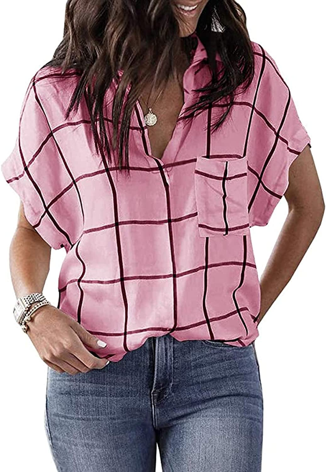 Chuanqi Womens Summer Shirt V Neck Collared Casual Plaid Cuffed Sleeve Blouse Tops with Pockets