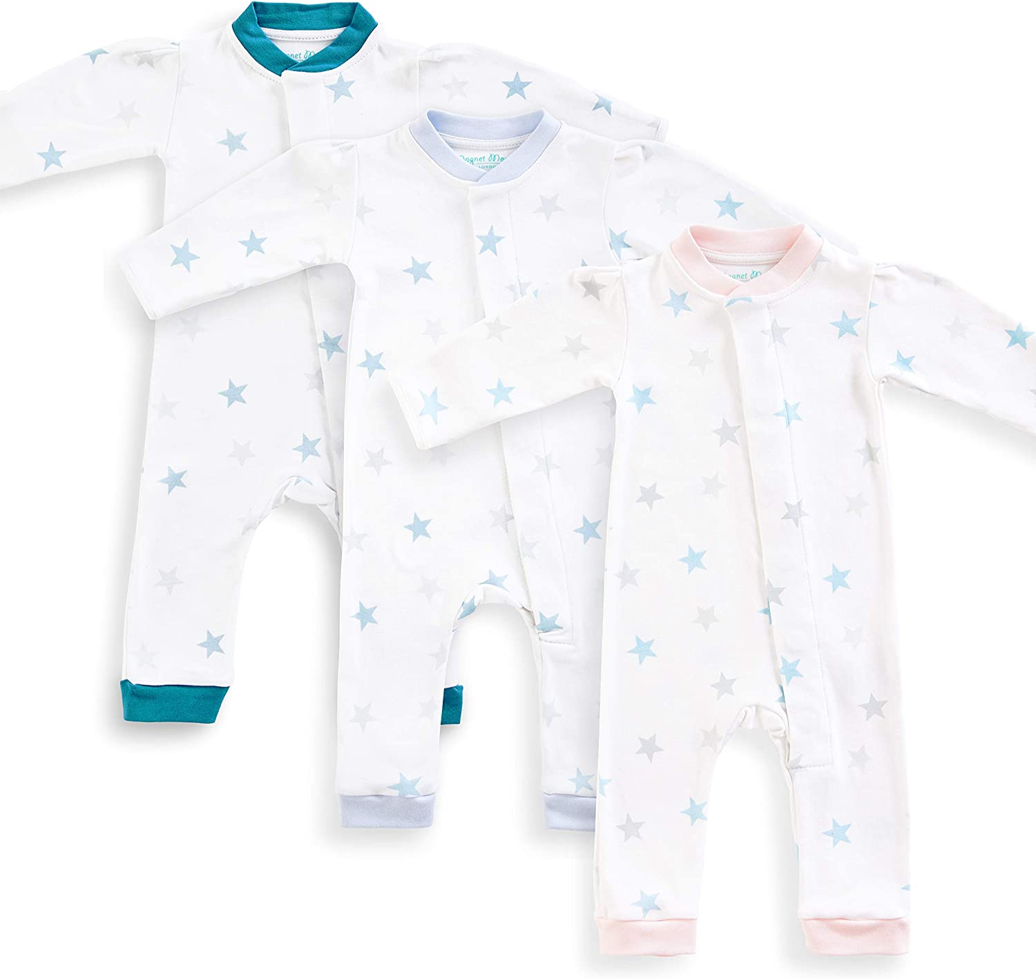 no fiddly Poppers or Buttons Original Magnet Mouse Teal Star Print Cotton Footless Romper with Magnetic Fastenings Magnet Mouse