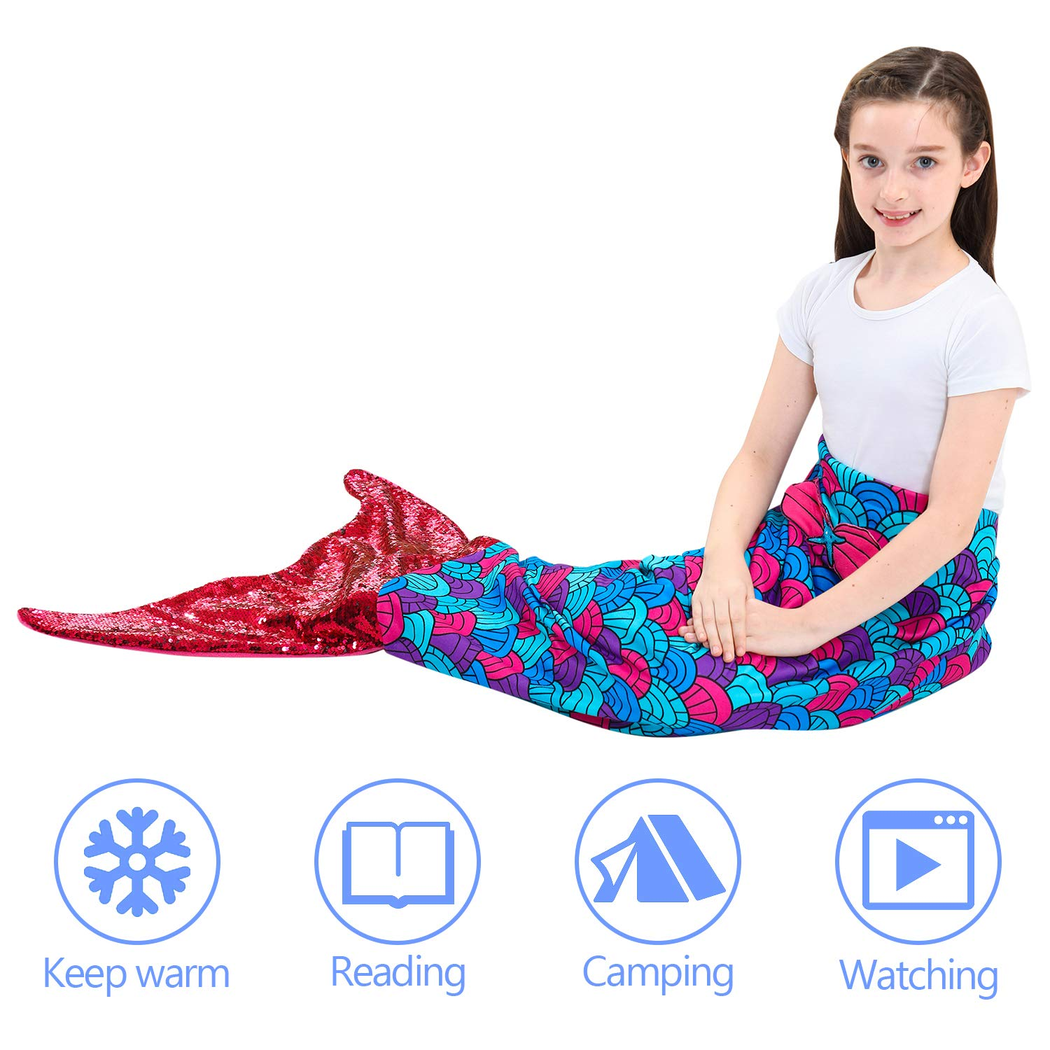 Mermaid Tail Blanket for Girls Soft Flannel Scale Pattern All Season Sleeping Blankets Bags Kids Holiday Warm Comforter Air Condition Sofa,Home,Travel,Birthday Gifts for 3-14Y