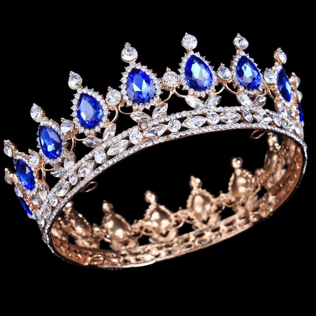 tiara per matrimoni e feste Blu oro HerZii corona da principessa con strass