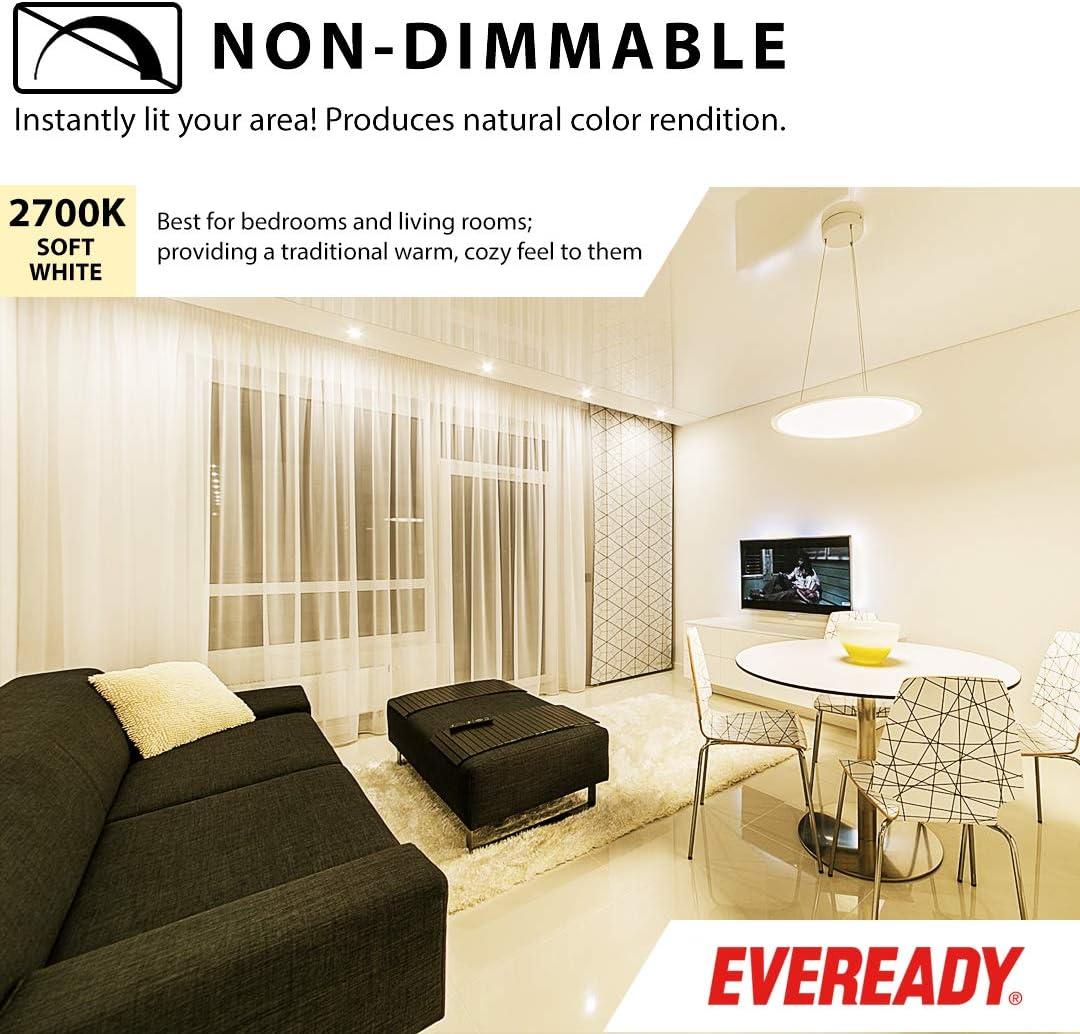 800 Lumens Eveready A19 LED Dimmable Light Bulbs 9-Watt 2700K Soft White Color 25,000 Hours Lighting Lifespan Energy Star Certified UL Listed 60W Bulb Equivalent 6 Pack E26 Base