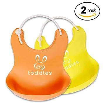 Baberos de silicona impermeable para bebés – baberos unisex de alimentación para bebés y niños pequeños