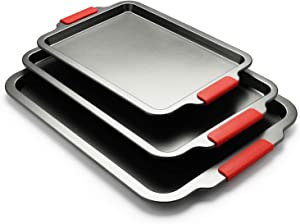 Creatif 3 Piece Baking Sheets Nonstick Bakeware Set, Premium Cookie Sheet Pan Set with Silicone Grip Handles,13/18/19 Inch, Non Toxic & Easy Clean and Release