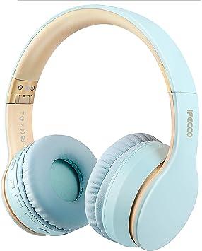 Oferta amazon: Ifecco Bluetooth Estéreo Auriculares Música sobre-oído Sonido de Alta fidelidad, Bluetooth Banda para la Cabeza Plegable con micrófono y Cable de Audio para Apple iPhone, PC (Azul Claro)