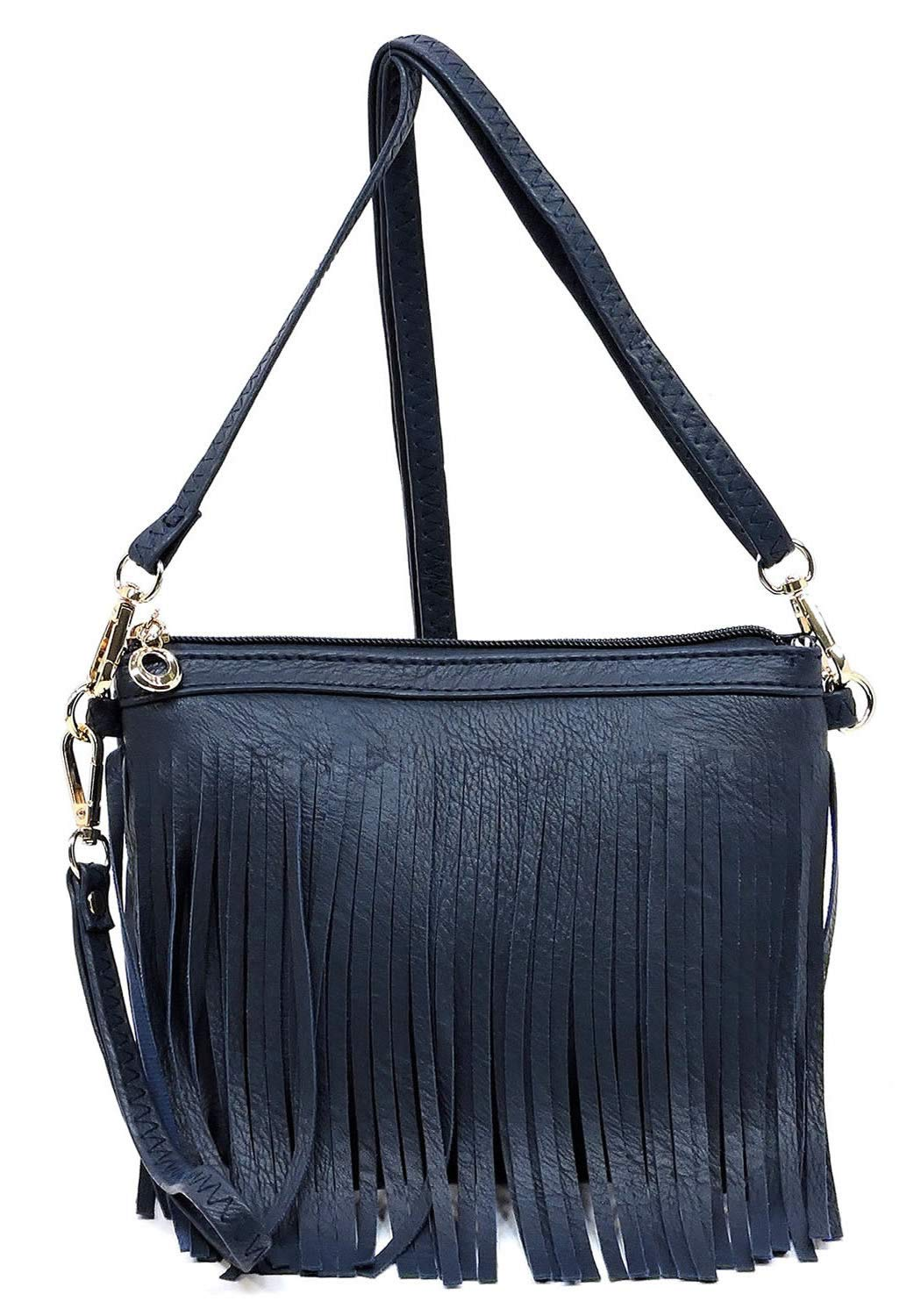 Elphis Western Vintage Fringe Tassel Wristlet Clutch Hipster Shoulder Bag Cross Body Bag(091) (Navy)