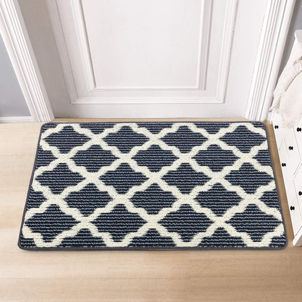 """Timo Indoor Door Mat Low-Profile Super Absorbent Non Slip Door Mats for Home Entrance Machine Washable Resist Dirt Inside Front Door Mat, 24""""x36"""", Grey Blue Fiber"""