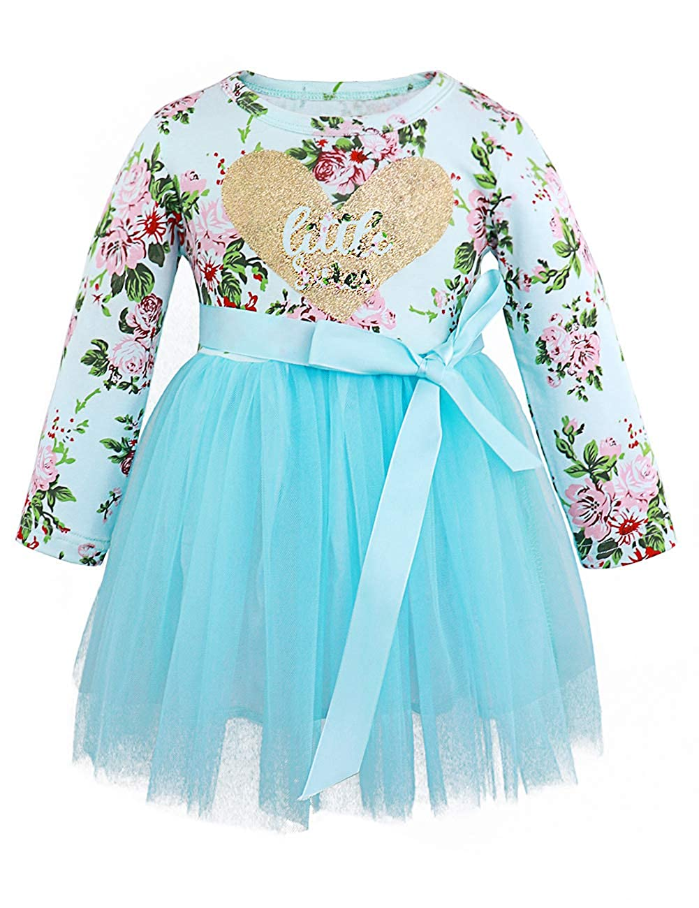ef940eed1 Amazon.com: Toddler Girl Easter Outfits Little Sister Dress Long Sleeve  Tulle Floral Vintage Dresses Blue: Clothing