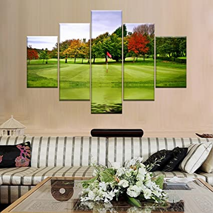 Extra Large Green Course Lawn Paimting On Canvas Picture Golfer Wall Art  Golf Target Home Decor