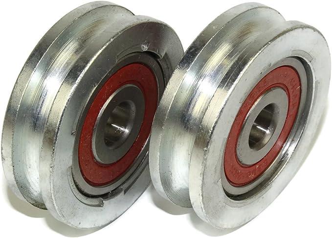 2/pezzi porta scorrevole ruota puleggia ruota 50/mm rotonda scanalatura ruota in acciaio a forma di U