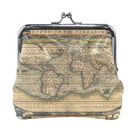 COOSUN Mapa del Mundo del Cuero de la Moneda de Cierre del ...