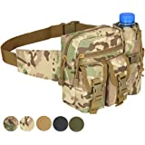 Hoanan Tactical Fanny Pack, Military Waist Pack Pouch With Water Bottle Pocket Holder Hip Belt Bag Outdoor Molle Pack for Hiking Camping Hunting Fishing Traveling