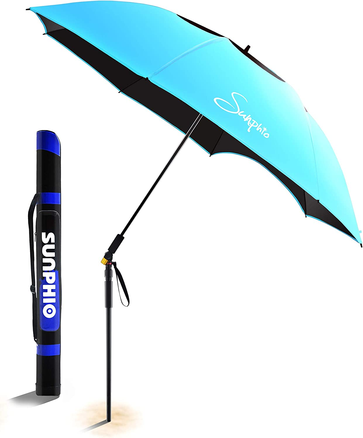 Sunphio Large Windproof Beach Umbrella, Sturdy and UV Protection, Portable Sun Shade Best for Camping, Picnic, Sand, Patio and More, 2 Metal Sand Anchor, 1 Big Carry Bag, 360 Tilt Mechanism Blue