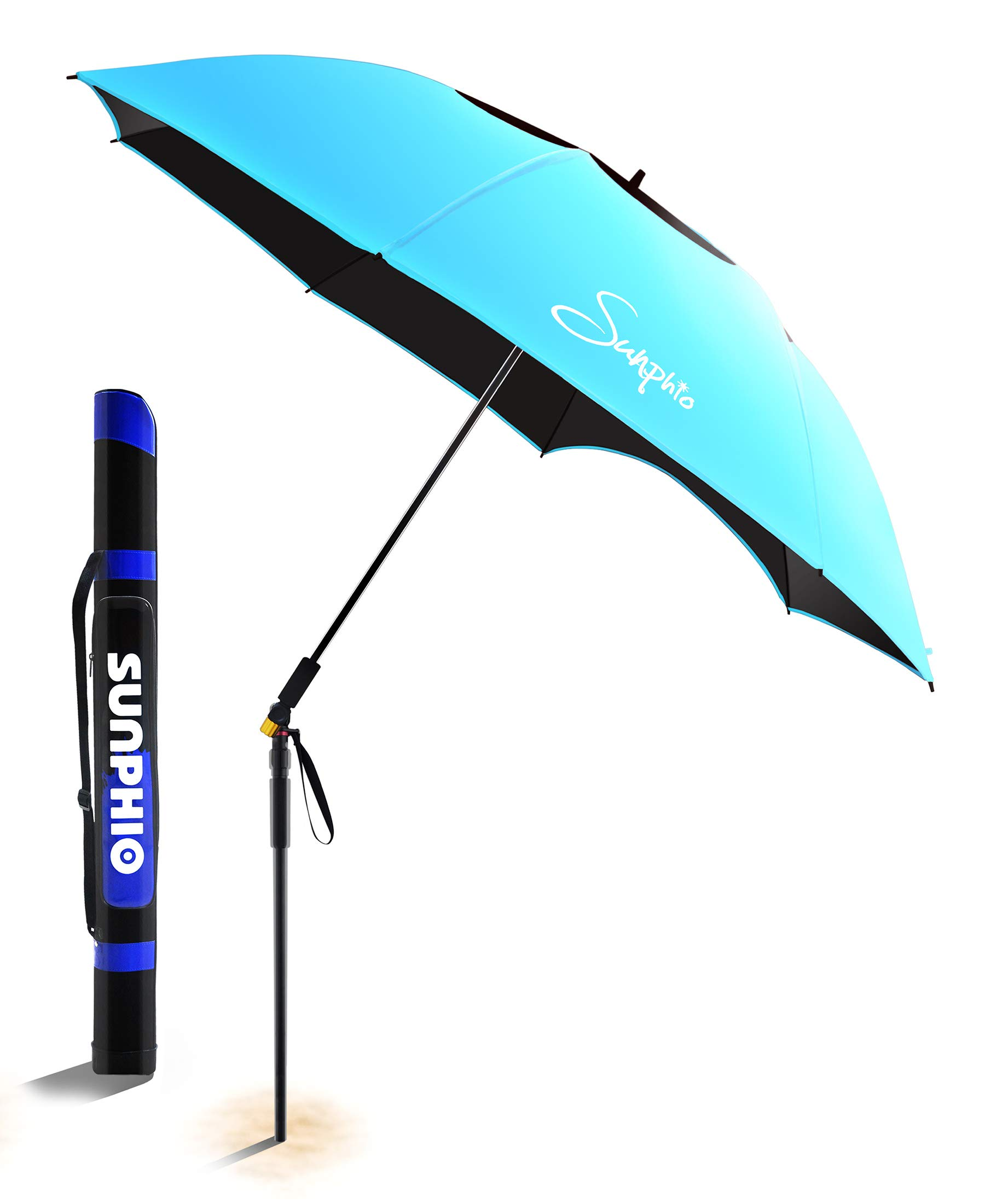Sunphio Large Windproof Beach Umbrella, Sturdy and UV Protection, Portable Sun Shade Best for Camping, Picnic, Sand, Patio and More, 2 Metal Sand Anchor, 1 Big Carry Bag, 360 Tilt Mechanism (Blue) by Sunphio