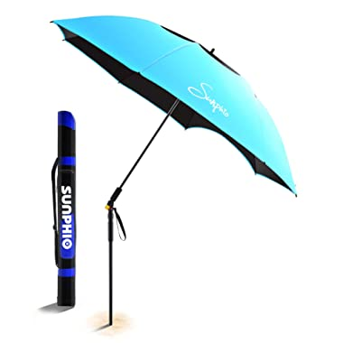 Sunphio Large Windproof Beach Umbrella, Sturdy 100% UV Protection, Portable Sun Shade Best for Camping, Picnic, Sand, Patio and More, 2 Metal Sand Anchor, 1 Big Carry Bag, 360 Tilt Mechanism (Blue)