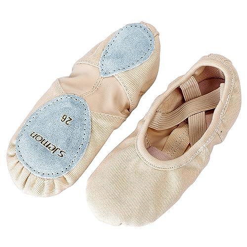 S.lemon Alta Elásticos de Lona Zapatillas de Ballet Zapatos de Baile para Niñas Mujeres
