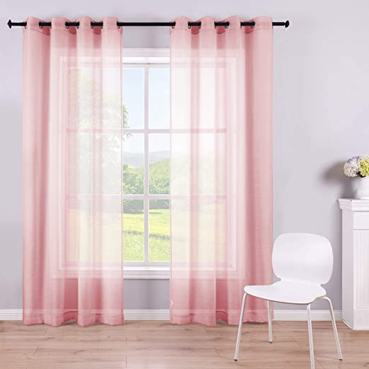 Amazon Com Sheer Pink Curtains 2 Panels 84 Inches Long Grommet Window Voile Drape Transparent Faux Linen Semi Sheer Curtain For Bedroom Girls Room Decor Living Room Wide 52 Length Nickel Soft Light