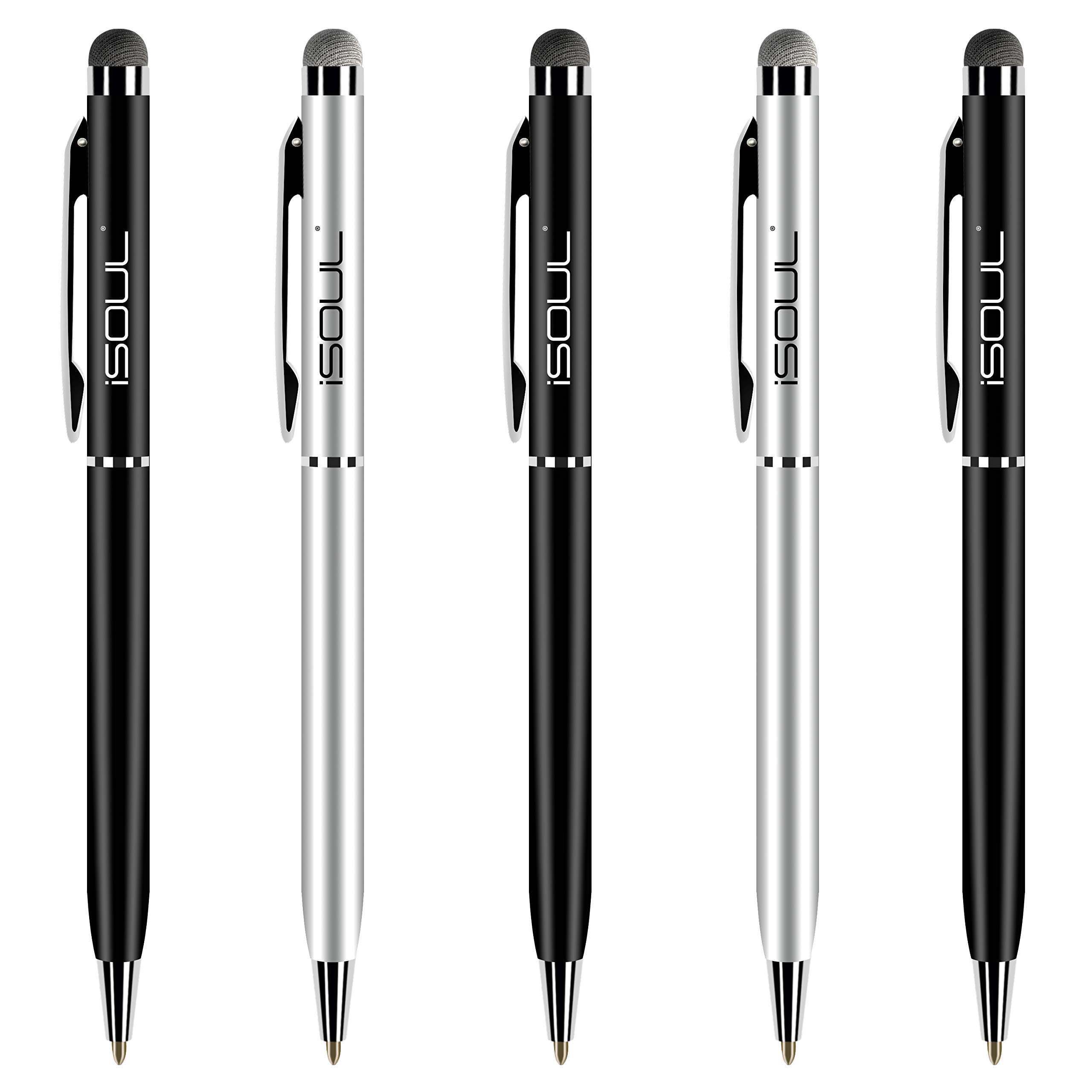 Google Pixel Samsung Galaxy iPhone Stylus Touch Pen, Official stylus for Apple iPads ISOUL Stylus Pen Stylus Pens for Touch Screens Tablets /& More- Black Metal Styli iPad OnePlus 5 Pack