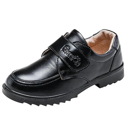 rismart Chicos Punta Redonda Oxfords Colegio Vestir Cuero Zapatos De Cordones: Amazon.es: Zapatos y complementos