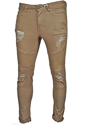 ddf81ebffea7d LCJ Denim Mens Biker Ripped Washed Stone Super Skinny Fit Stretch Jeans   Amazon.co.uk  Clothing
