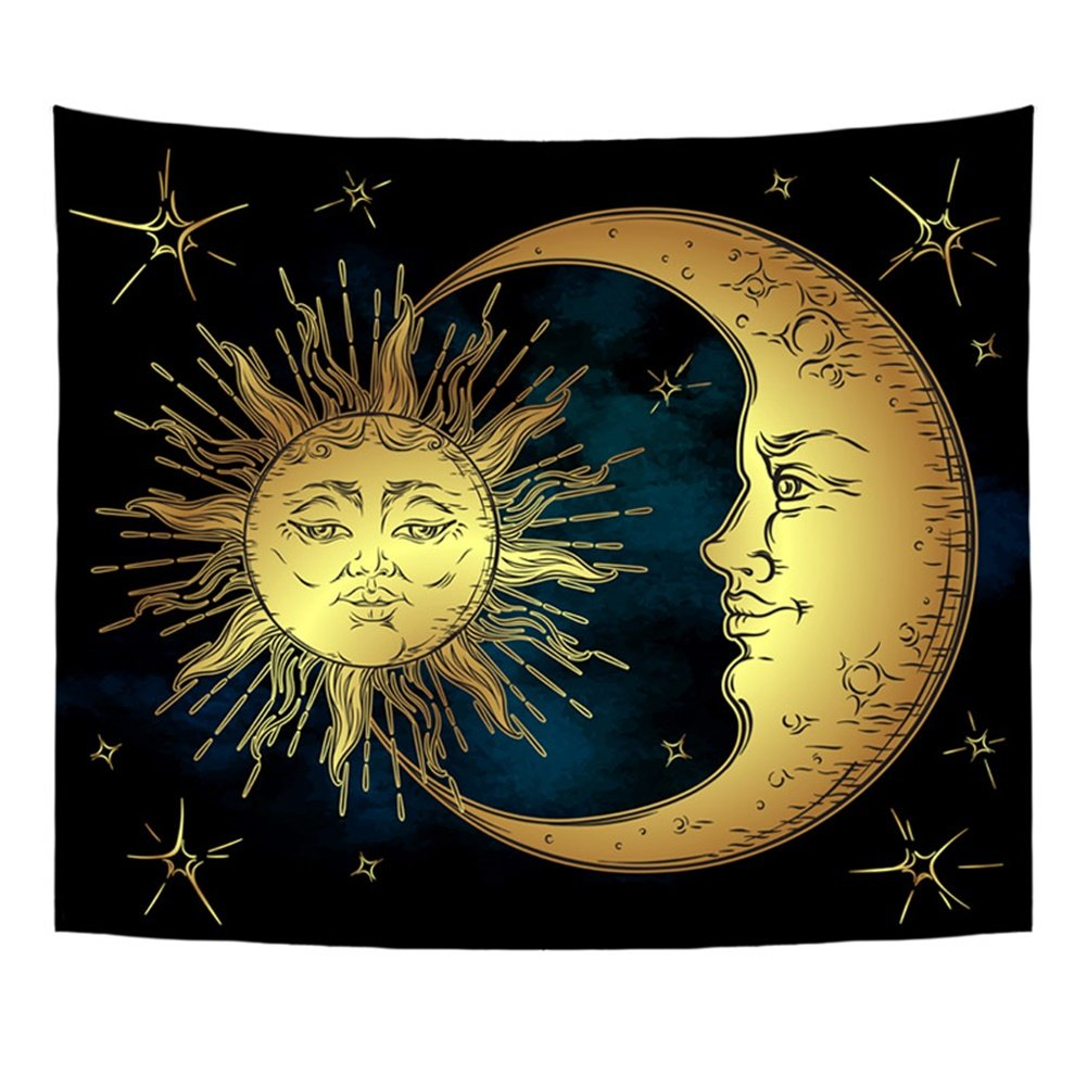 Amazon.com: QOGiR Antique Style Tapestry Wall Hanging Golden Sun ...