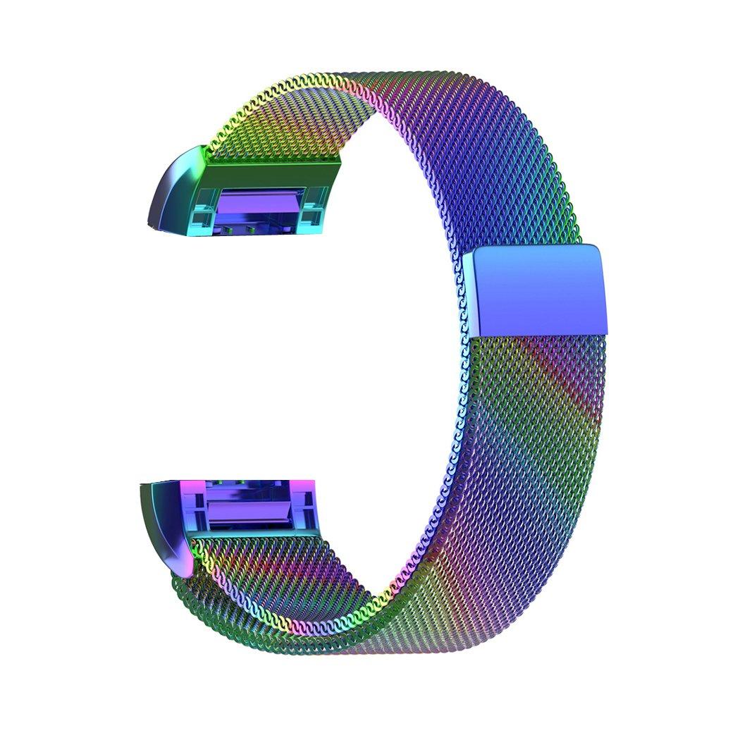 【希少!!】 For Fitbit Charge 2バンド B078YK6W7Z、iterkステンレススチールメタルwith磁気バックルMilaneseメッシュループ交換用リストバンド調整可能なスモール&ラージ B078YK6W7Z 9.3