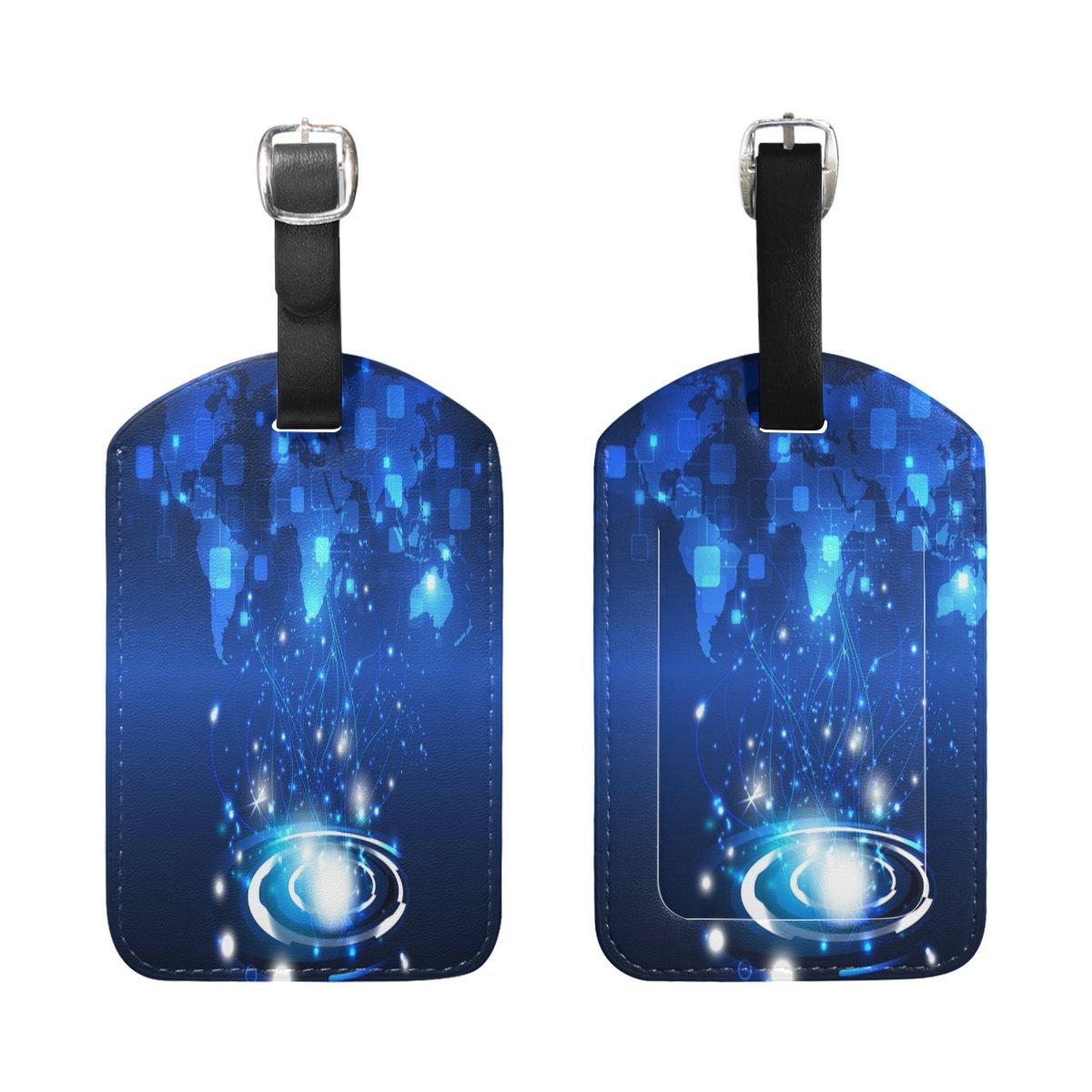 1Pcs Saobao Travel Luggage Tag Mandala On Dark Blue Background PU Leather Baggage Suitcase Travel ID Bag Tag