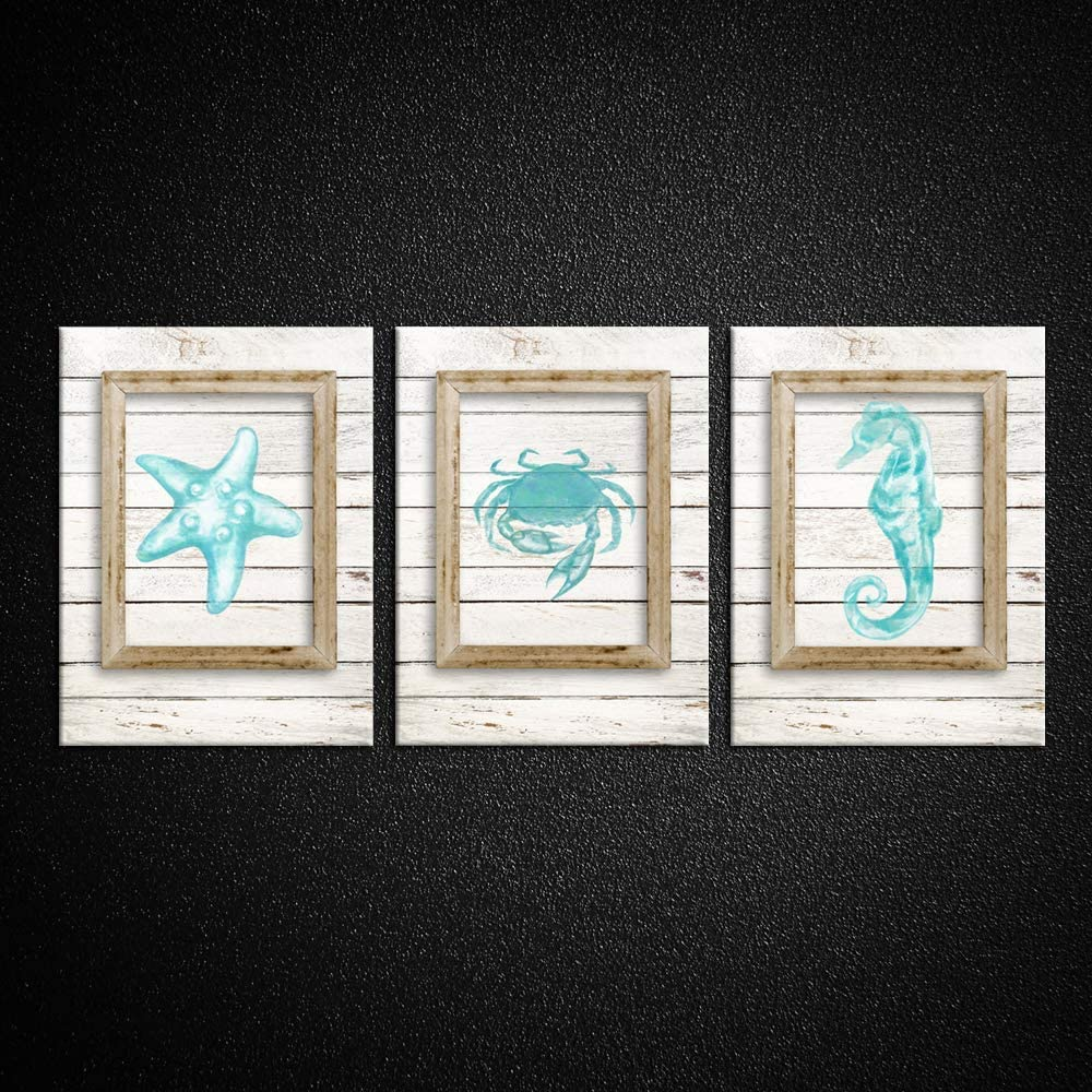 Kreative Arts Coastal Decor Teal Ocean Wall Art for the Laundry Room Starfish Seahorse and Crab Watercolor Painting Aqua Blue Seascape Picture Prints on Canvas 3 Piece Wood Turquoise Rustic Home Decor