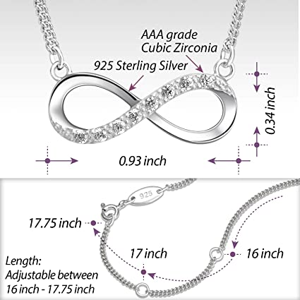 925 Sterling Silver and Gold Tone Claudia Sparkle Cut Infinity Pendant Necklace Jewelry Gifts for Women