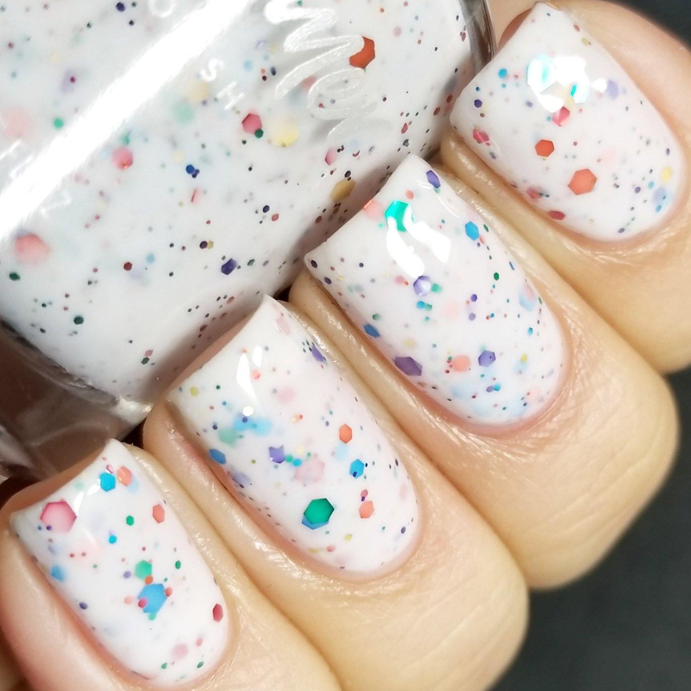 Amazon.com : Oh Splat White Glitter Nail Polish with Rainbow ...