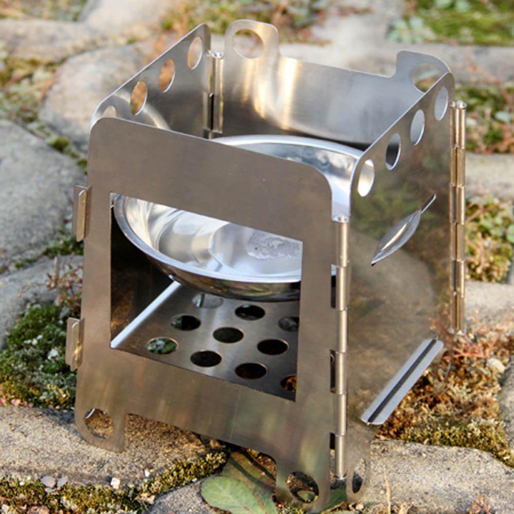 Acero inoxidable Anself portátiles madera plegable estufa de cocinar al aire libre BBQ Alcohol bolsillo de acampada: Amazon.es: Deportes y aire libre