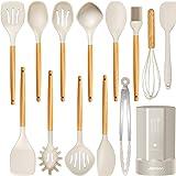 Silicone Cooking Utensils Kitchen Utensil Set, Heat Resistant,Kitchen Utensils Spatula Set with Holder.Wooden Handle Khaki Si